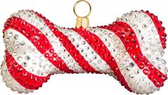 Candy Cane Dog Bone Ornament w/encrusted with crystals