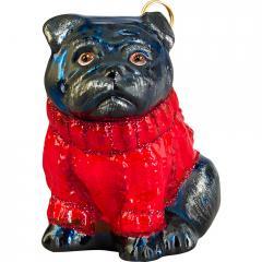 Pug (Black) w/Red Sweater
