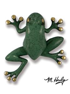 Frog Door Knocker with Brass/Blue Green Patina