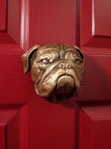 Bulldog Bronze Dog Door Knocker