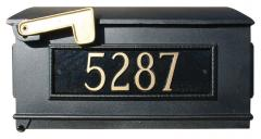 Lewiston Personalized Post Mount Mailbox shown in Black with Gold