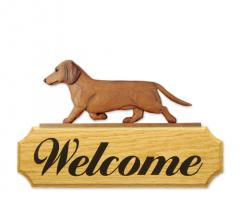Dachshund, Smooth Dog Welcome Sign
