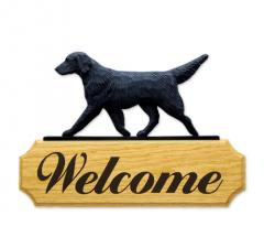 Flat-Coated Retriever Dog Welcome Sign