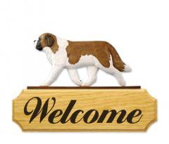 Saint Bernard Dog Welcome Sign