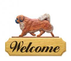Tibetan Spaniel Dog Welcome Sign