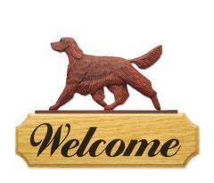 Irish Setter Dog Welcome Sign