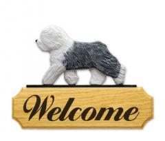 Old English Sheepdog Dog Welcome Sign