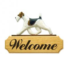 Fox Terrier, Wire Dog Welcome Sign
