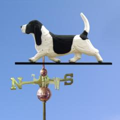 Basset Hound Dog Weathervane shown in Black and White