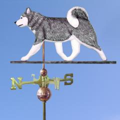 Siberian Husky Dog Weathervane shown in Grey and White
