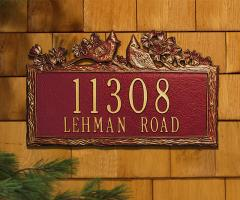 Woodland Cardinal Two Line Address Plaque - Red/Gold