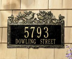 Woodland Wren Two Line Address Plaque - Black/Gold