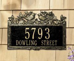 Woodland Wren Two Line Address Plaque - Black/Gold