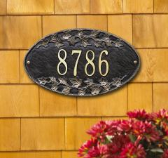 Ivy Oval Plaque - Black/Gold