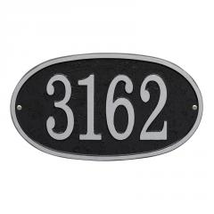 Fast & Easy Oval Number Plaque - Black/Silver