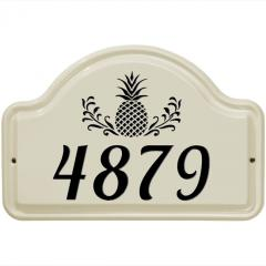 Pineapple Arch House Number Ceramic Plaque shown in Black