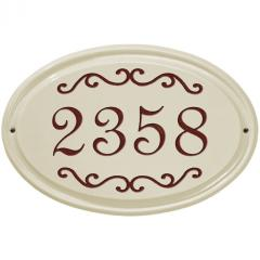 Scroll Oval House Number Ceramic Plaque shown in Red