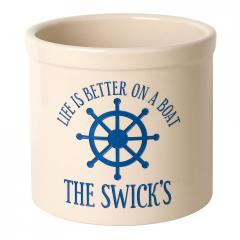 Life is Better on a Boat Personalized Crock