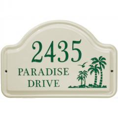 Palms Arch Ceramic Wall Plaque shown in Green