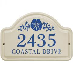 Sand Dollar Arch Ceramic Address Plaque shown in Dark Blue