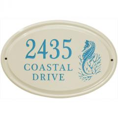 Sea Horse Oval Ceramic Address Plaque shown in Sea Blue