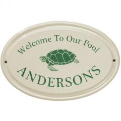 Sea Turtle Welcome to Our Pool Ceramic Plaque shown in Green