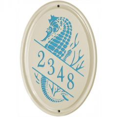 Sea Horse Vertical Ceramic Number Sign shown in Sea Blue