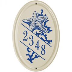 Starfish Vertical Ceramic Number Sign shown in Dark Blue