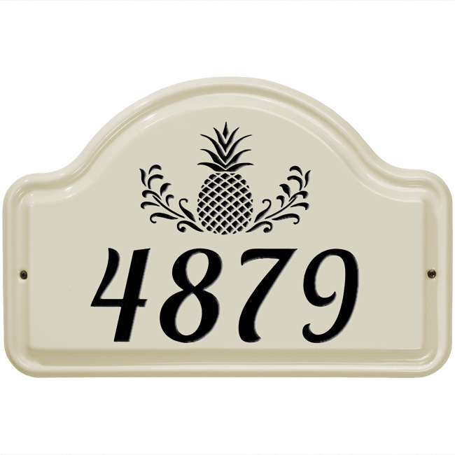 Ceramic Address Plaques shown in various designs.