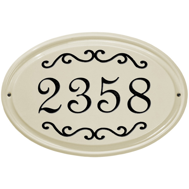 Hover over Scroll Oval House Number Ceramic Plaque images below to see ...