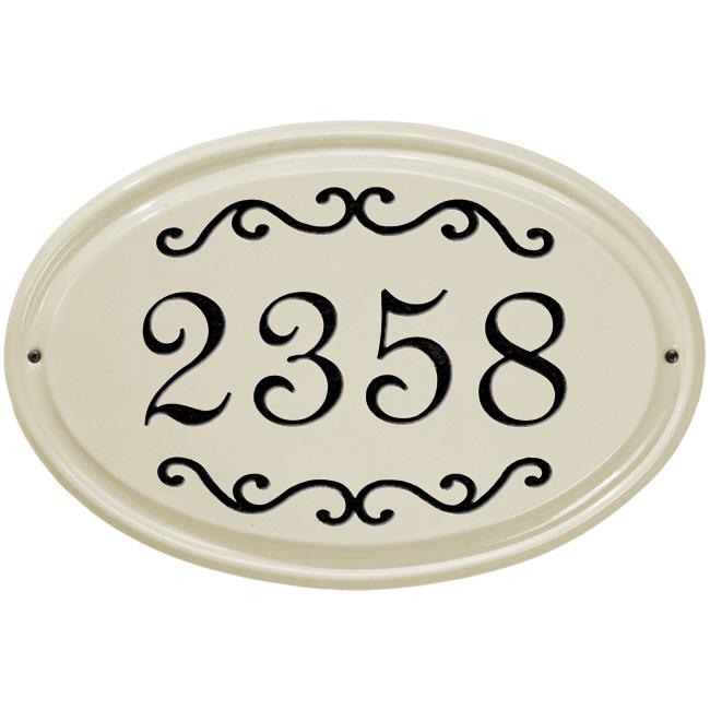 Scroll Design Ceramic House Number Sign