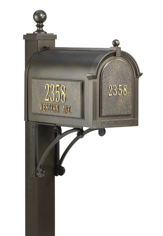 Beautiful Mailbox Packages from Whitehall Products - includes mailbox, personalized address plates and mailbox post.