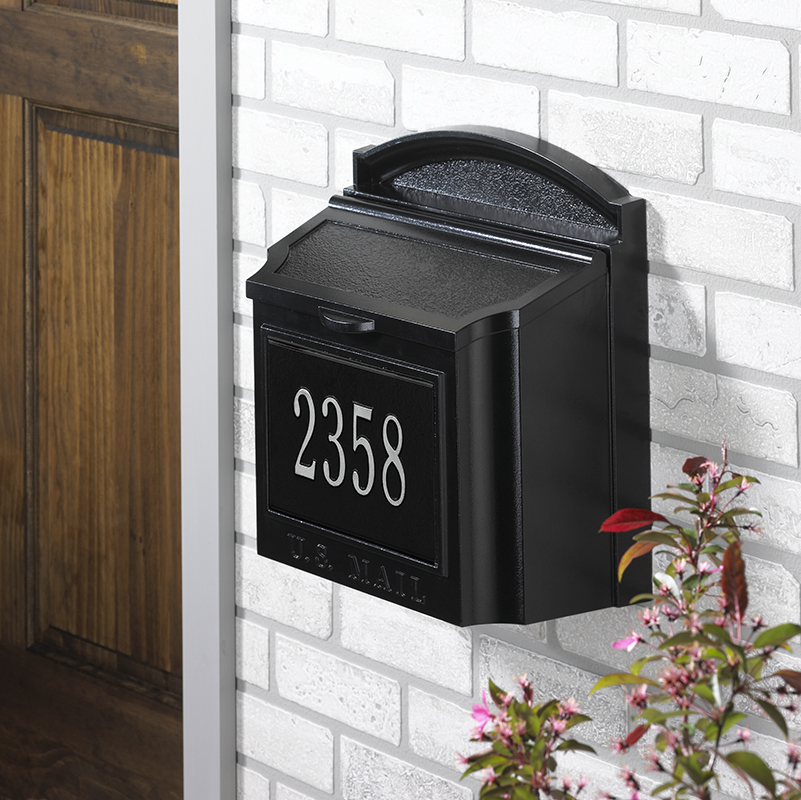 Whitehall Wall Mount Mailboxes available in three color finishes - can be personalized